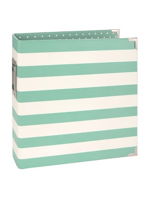 6x8 Designer Binder - Robins Egg Stripe