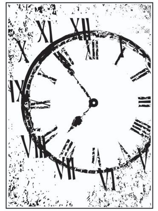 Distressed Clock Rubber stamp