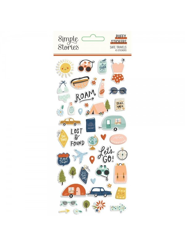 Simple Stories Safe Travels Puffy Stickers