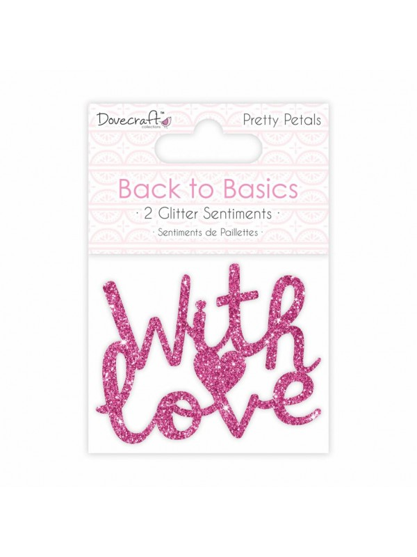 Glittered Wooden Sentiments- With Love (2pcs)