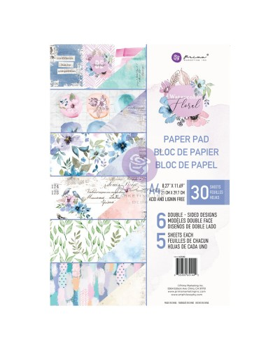 Mπλοκ χαρτιών Prima Marketing Watercolor Floral A4 Paper Pad