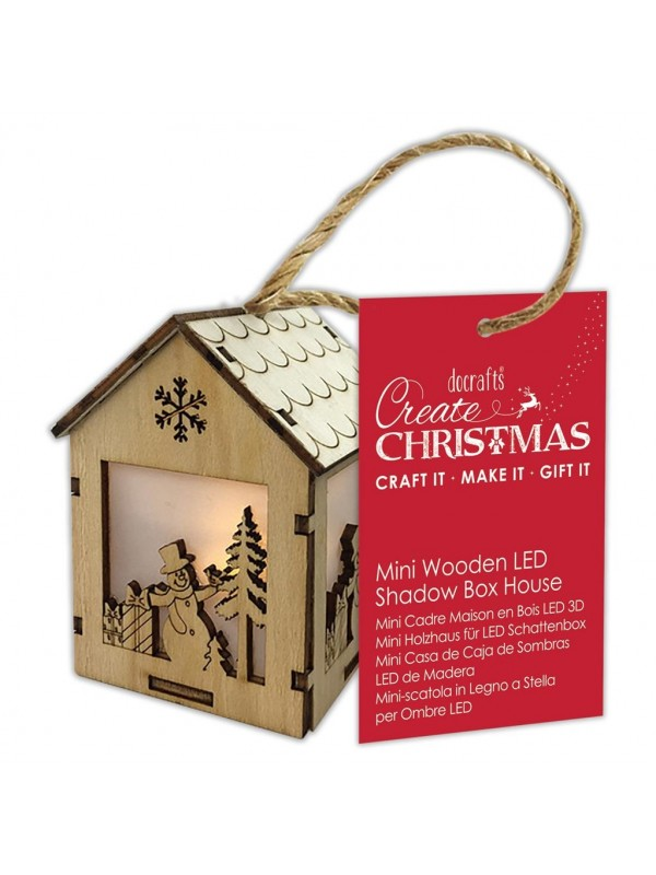 Ξύλινο σπιτάκι Mini Wooden LED Shadow Box House Snowman Presents