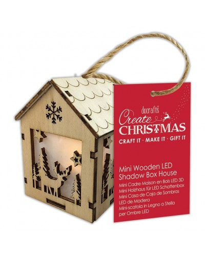 Ξύλινο σπιτάκι Mini Wooden LED Shadow Box House Winter Stag