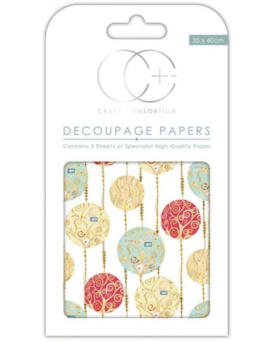 White Baubles Decoupage Papers
