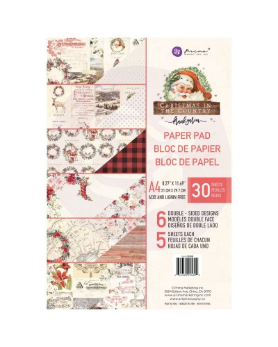 Mπλοκ χαρτιών Prima Marketing - Christmas In The Country A4 Paper Pad (995300)