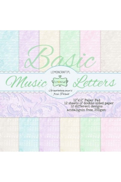 Music Letters  - Basic, 12x12 paper pad