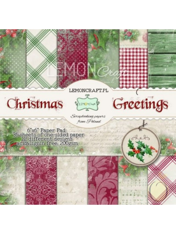 Christmas Greetings- 6x6 paper pad (36 φύλλα)
